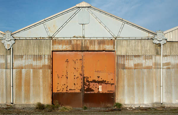 door industrial metal rust hangar